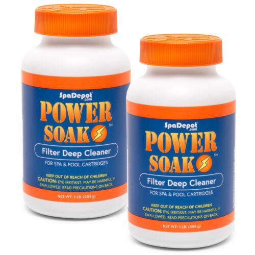 Power Soak Hot Tub Filter Cartridge Cleaner for Spa & Pool - 2 x 1 lb bottles