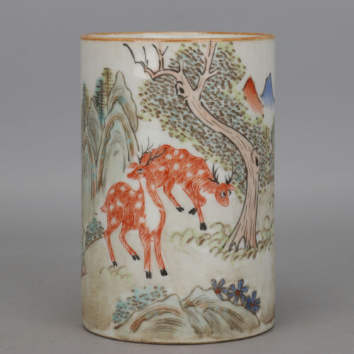 China old Porcelain Qing tongzhi famille rose landscape Sika deer Pen container