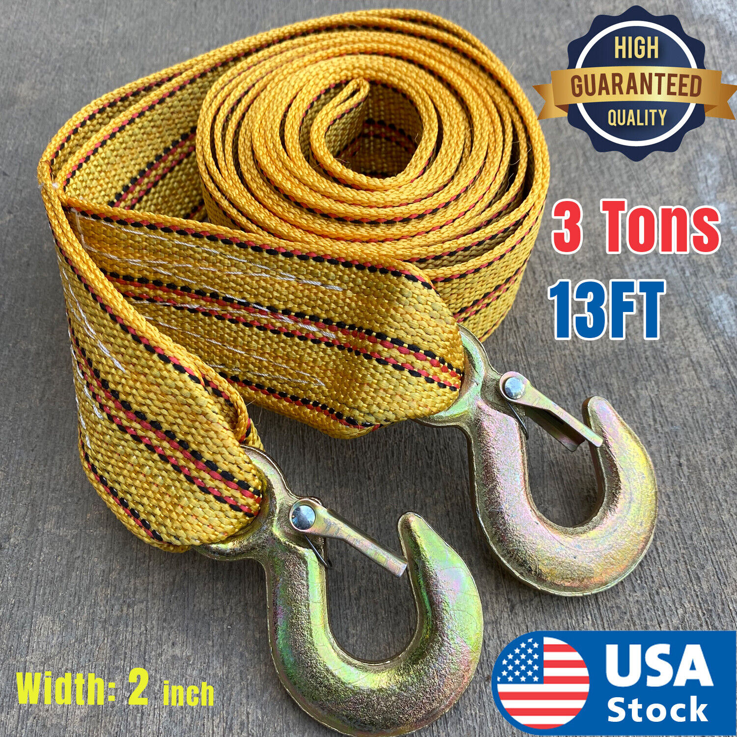 USA 3Tons Car Tow Cable Towing Strap Rope with Hooks Emergency Heavy Duty 13 FT Car & Truck Parts