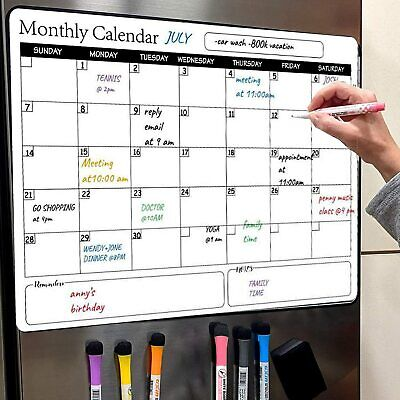 Dry Erase Calendar Whiteboard Magnetic Family Memo Monthly Organizer Plan Board