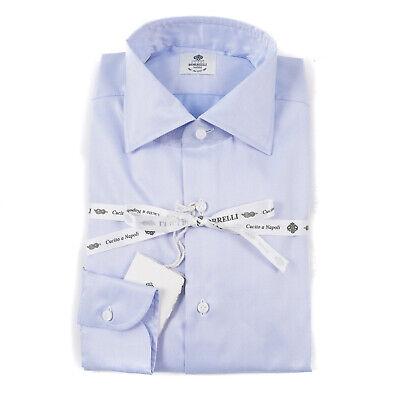 Luigi Borrelli Napoli Tailored Fit Sky Blue Extrafine Cotton Dress Shirt 15.5