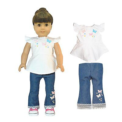 Doll Clothes Jeans Shirt Outfit Pink Butterfly Closet Fits American Girl 18