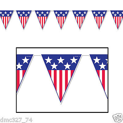 Fourth Of July Banner (1 4th of July PATRIOTIC Party Decoration SPIRIT OF AMERICA Pennant FLAG)