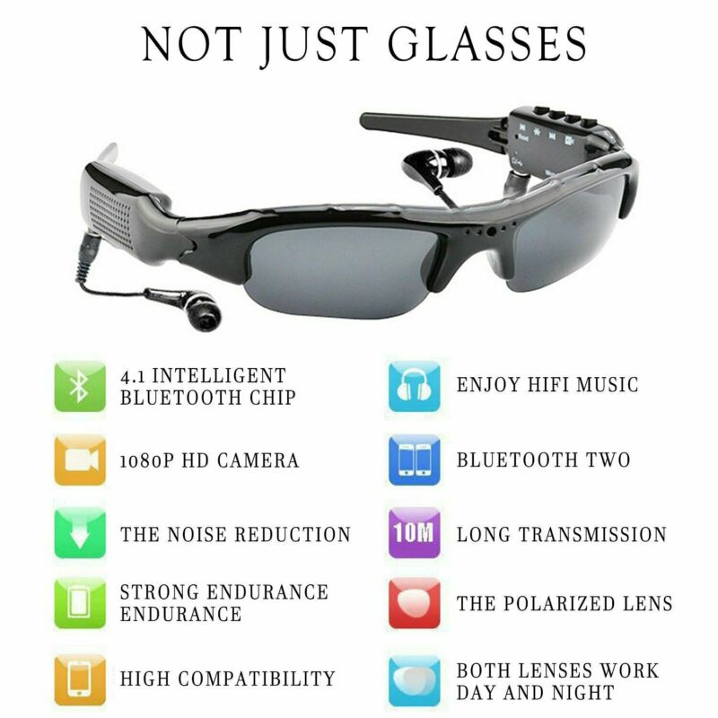 Smart 1080P HD Bluetooth Sunglasses Sports DV Music Photos Polarized Glasses