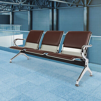 3-seat Waiting Room Chair Salon Airport Reception Sofa Seat Pu Leather Brown