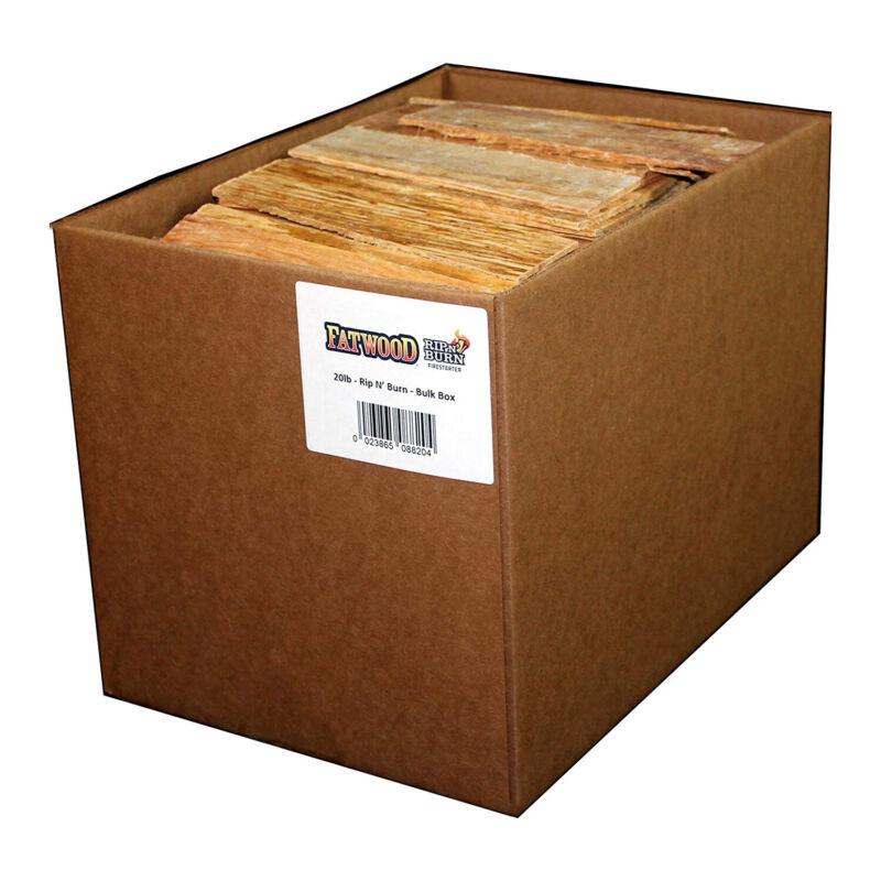 BetterWood Products Fatwood Rip & Burn Firestarter Waterproof Wood, 20 lbs