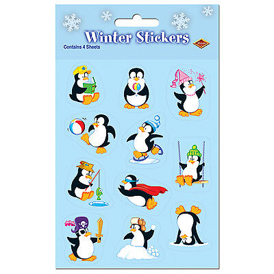 Penguin Party Favors (Penguin Stickers 4 Ct Christmas Party)