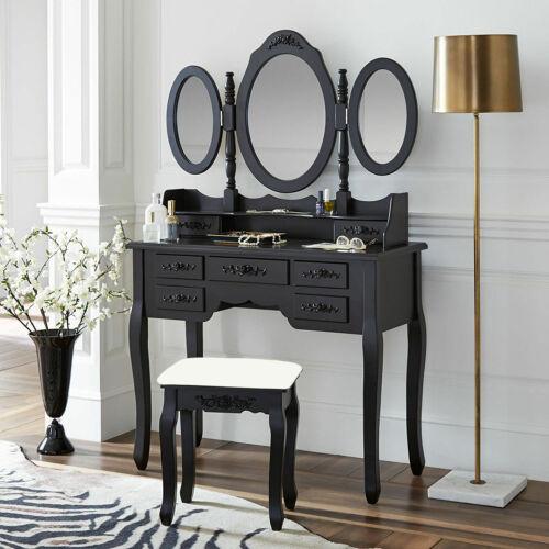 3 Mirrors 7 Drawers Vanity Makeup Table Dressing Wood Desk