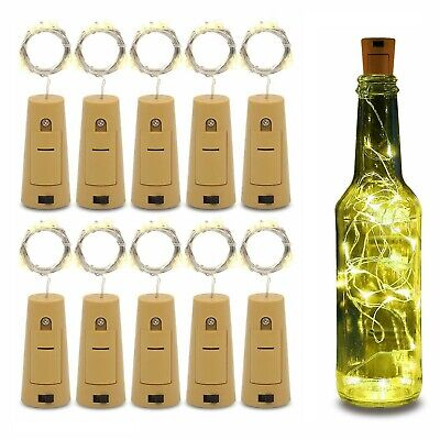 Wine Bottle Fairy String Lights 20 LED Battery Cork For Party Christmas Wedding