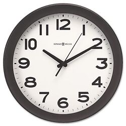 New Round 13-1/2 Wall Clock Black takes 1 AA Battery Howard Miller Kenwick
