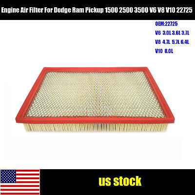 Engine Air Filter For Dodge Ram Pickup 1500 2500 3500 V6 V8 V10 22725 US Stock