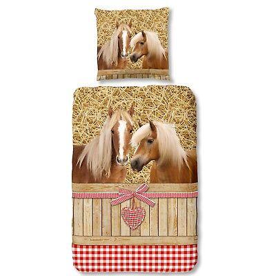 Landhaus-stil Bettwäsche (Good Morning Bettwäsche 6212 Goldy Bunt Pferde Herzen Landhausstil Karo Flanell)