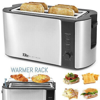 4 Slice Stainless Stiffen Long Slot Toaster With Extra Wide Slot + Warmer Rack