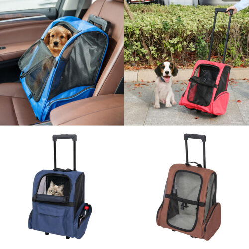 Pet Carrier Dog Cat Rolling Wheel Luggage Travel Airline Approved BackPack Bag
