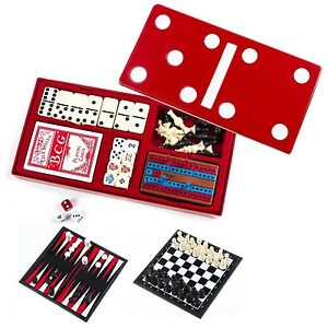 7 in 1 Games Compendium Set includes Dominoes Chess Checkers with magnetic board