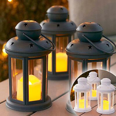 Terrasse Laternen (3er Set Laternen mit LED Kerze Windlicht Stern Deko Windlicht Batterie Timer)