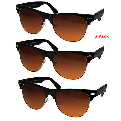 3 PAIR Half Frame Pilot Style BLUE BLOCKER Sunglasses Amber Lens Driving Retro