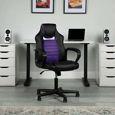 Racing Style Gaming Office Chair Ergonomic Adjustable Lumbar Support Purple