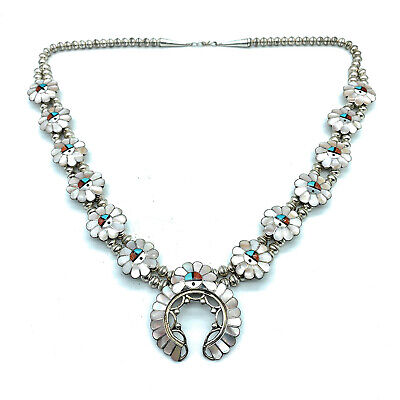 Vintage 1960's Zuni Sterling Silver Sunface Inlay Squash Blossom Necklace Zuni Squash Blossom Necklace