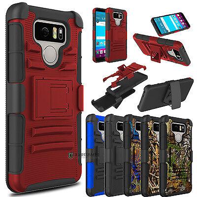 Camo Hybrid Phone Case Armor W/Kickstand Holster Clip Cover For LG G6 / G6+ Plus