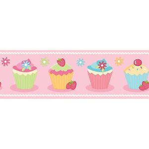 CUPCAKE PINK GIRLS BUN CHILDRENS WALLPAPER BORDER SELF ADHESIVE BO05466 FUN4WALL