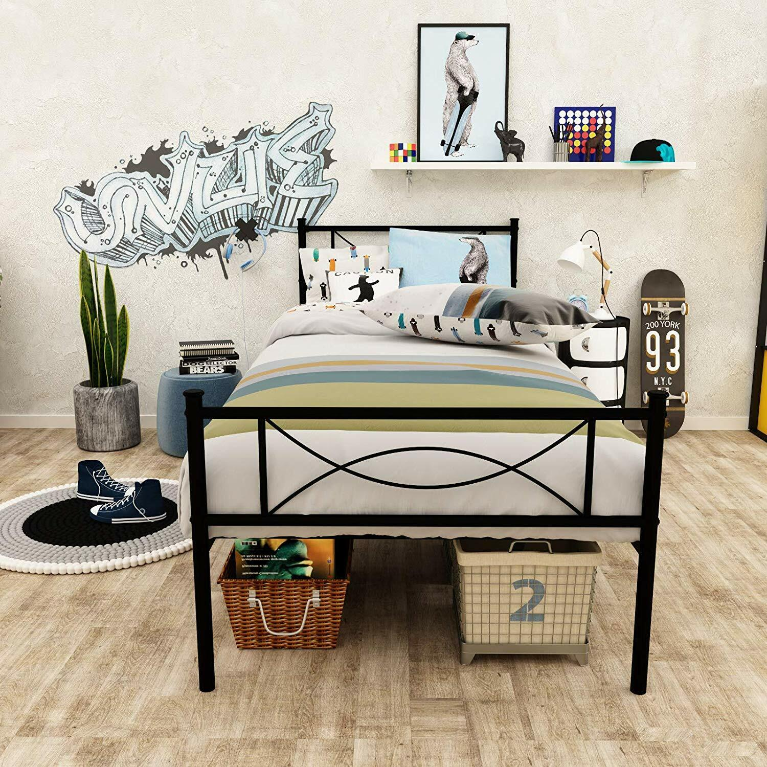 Metal Bed Frame Twin Size With Vintage Headboard And Twin Antique Brown For Sale Online Ebay
