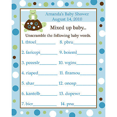 24 Baby Shower Word Scramble Game Cards  - TURTLE AND FROG - BLUES](Baby Turtle Games)