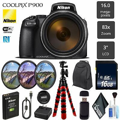 Nikon COOLPIX P900 K1 16MP Digital Camera - Black (Bundle Kit)