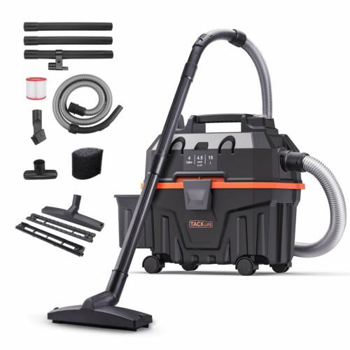 Wet and Dry Vacuum Cleaner, TACKLIFE 1200W 15L Bagless Wet Dry Vac Cleaner with