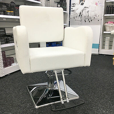 WARM WHITE HAIR STYLING CHAIR HAIRDRESSERS BARBER CHAIR SALON - COLOUR STAINED
