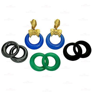VAN CLEEF & ARPELS Gemstone Yellow Gold Interchangeable Door Knocker Earrings