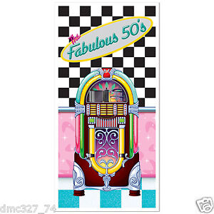 FABULOUS-1950s-Sock-Hop-GREASE-Party-Decoration-JUKEBOX-DOOR-Wall-COVER-MURAL