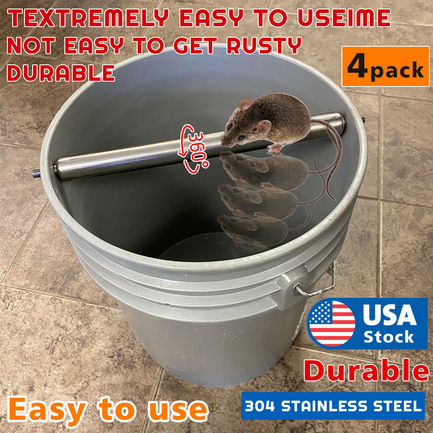 4PCAK Mice Rats Mouse killer Roll Trap log Grasp Bucket Rolling Roller USA Animal & Rodent Control