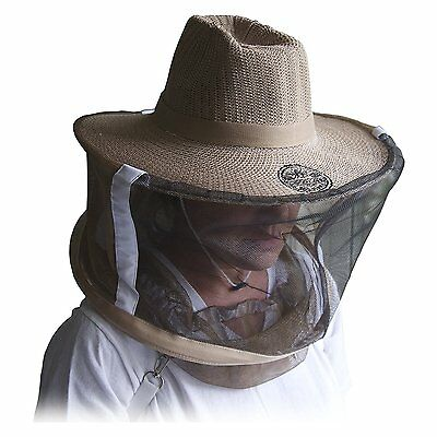Natural Cotton Beekeepers Medium / Large Hat Veil Bee Protection During Beehive (Natural Veil)