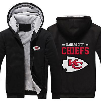 - NFL Kansas City Chiefs Football team Zipper Thicken Hoodie Winter Coat jacket