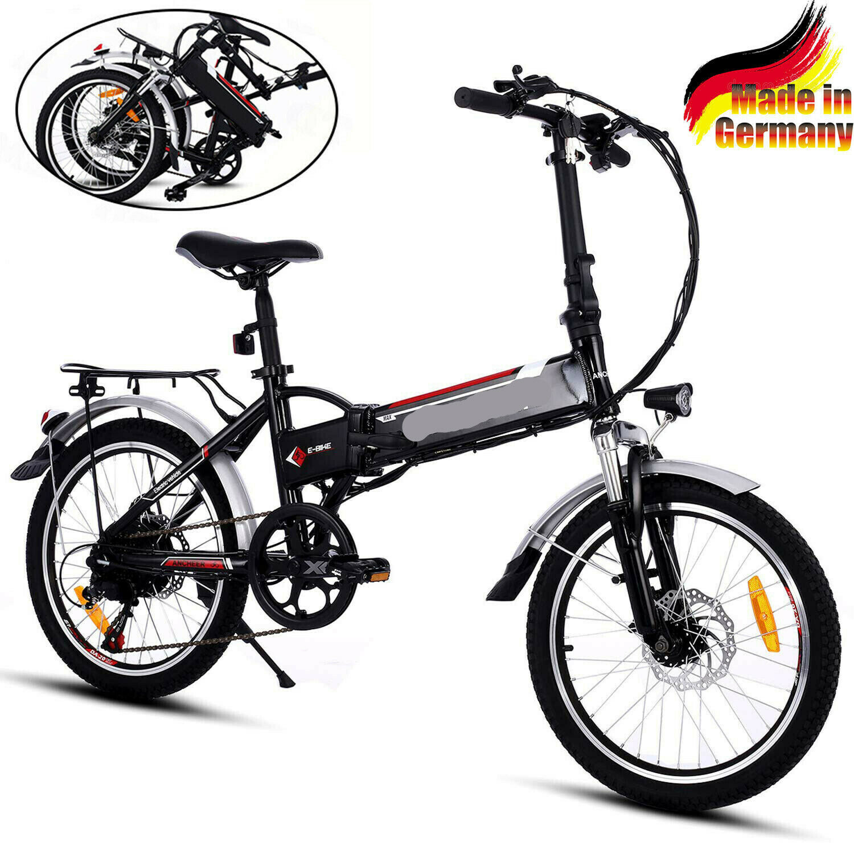 "Klapprad Elektrofahrrad 20"" eBike Mountainbike 30km/h Citybike Faltbares Pedelec"