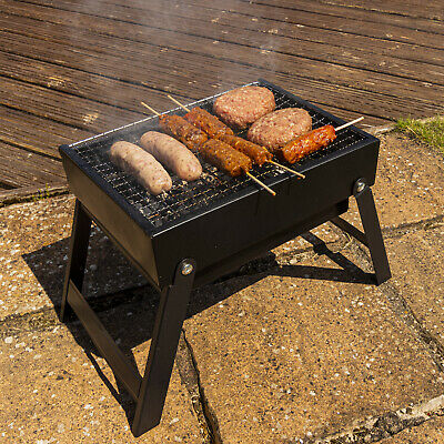 Woodside Portable Outdoor Camping BBQ Folding Garden Barbecue Grill + Carry Bag