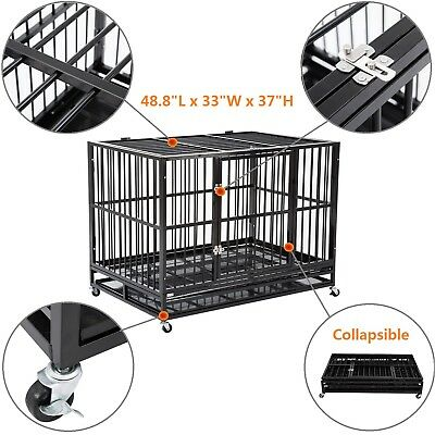 "48"" Heavy Duty Dog Cage Crate Kennel Metal Pet Playpen Portable w/ Tray New"
