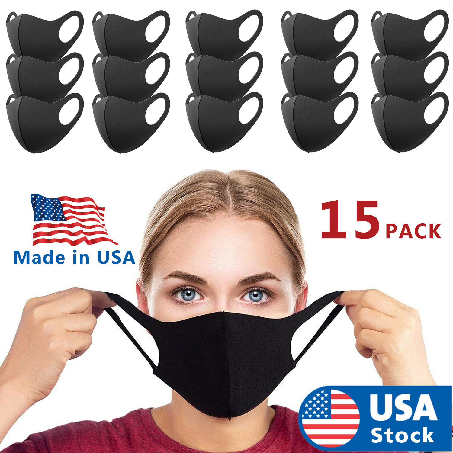 15-PACK Black Face Fashion Mask Washable Reusable Unisex Adult MASK Made IN USA Accessories