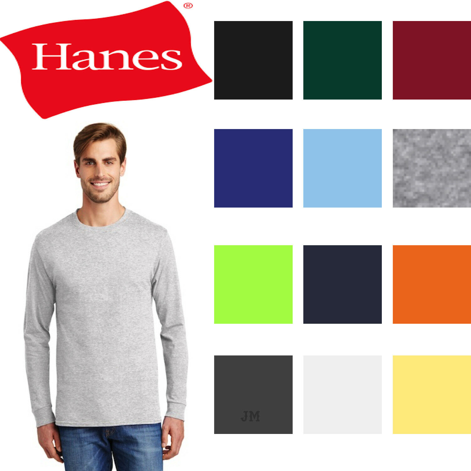 Hanes 5586 Tagless 100% Cotton Long Sleeve T-Shirt
