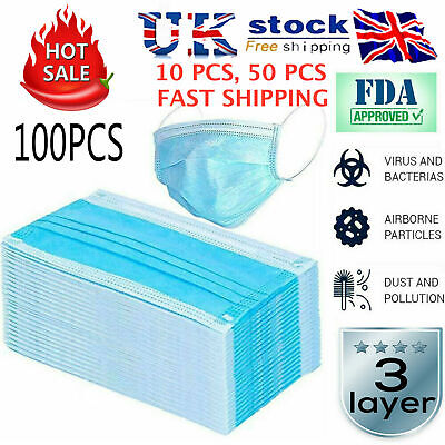 Face Mask PACK OF 10/50/100 100% 3 ply Mouth Guard Cover Face Masks Respiration