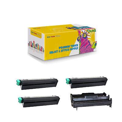 43502001 43501901 Compatible 3 x Toner + Drum Cartridge for Okidata B4400 B4600 Compatible Black Drum Cartridge