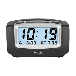 DreamSky Dual Alarm Clock with Smart Adjustable Nightlight, Snooze, Large LCD...