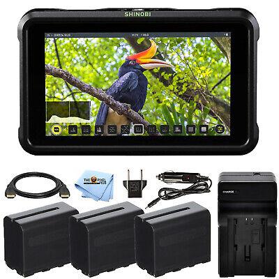 "Atomos Shinobi 5.2"" 4K HDMI Monitor ATOMSHBH01 + 3 Batteries and Charger Bundle"