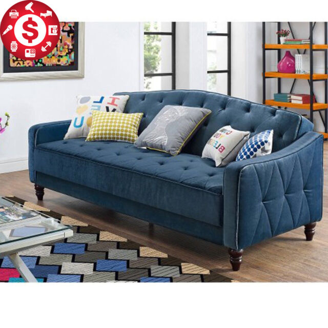 Convertible Tufted Sofa Futon Bed Couch Sleeper Vintage Mattress Navy Blue - Sofa Sleeper Bed Tufted Vintage Couch Blue Futon Furniture Living