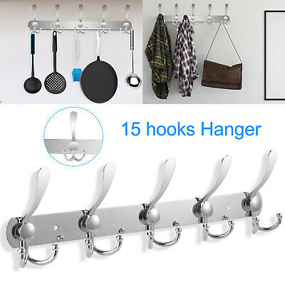 Cozy Robe (10/15 Hooks Coat Hat Clothes Robe Holder Racks Cozy Wall Hanger Stainless Steel)