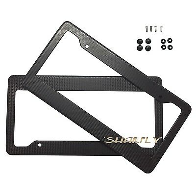 (2X CARBON FIBER PAINTED LICENSE PLATE FRAME US/CANADA SIZE COVER TAG COVER SCREW)