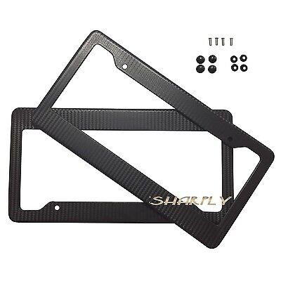 2X CARBON FIBER PAINTED LICENSE PLATE FRAME US/CANADA SIZE COVER TAG COVER SCREW ()