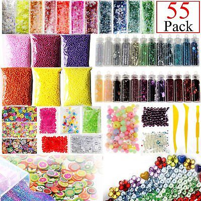 55 Pack Slime Supplies Kit (Foam, Charms, Glitter, Fishbowl + More!)