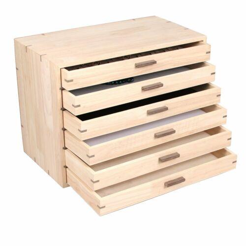 Jewelry Storage Organizer w/6 Natural Wood Trays/Gem Jars